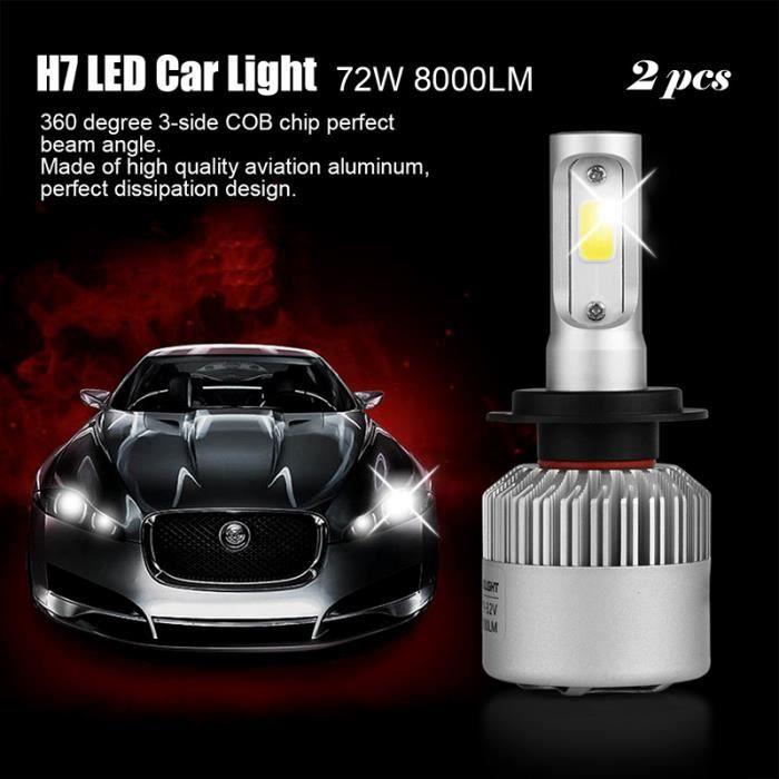 2pcs 72W 8000LM H7 COB LED Phares de Voiture Véhicules Illumination d'Ampoules Brillante H7-6500K