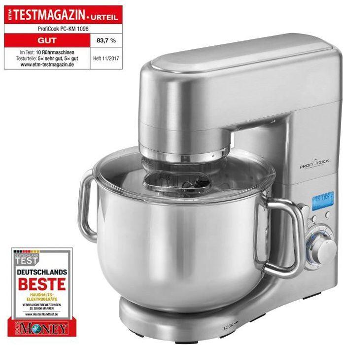 Profi Cook PC-KM 1096 Robot de cuisine multifonction, 10 L, 1500 W, acier inoxydable