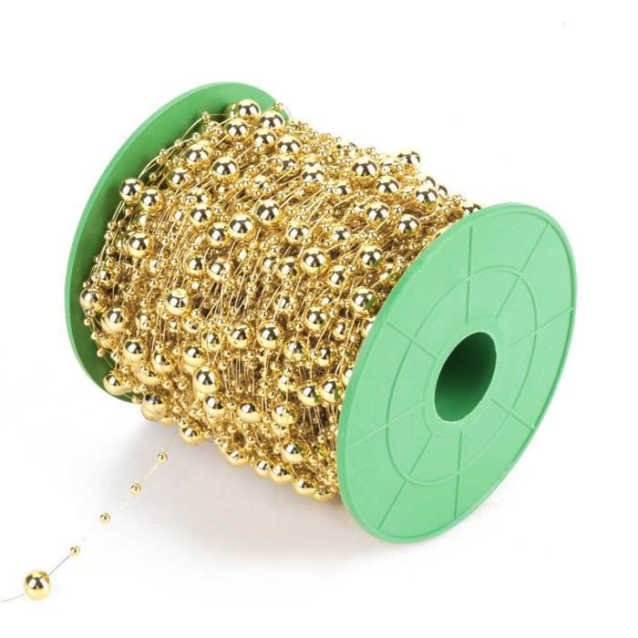 Qiilu chaîne de perles de perles 60 m / rouleau galvanoplastie perles de fil de perles guirlande chaîne bricolage décoration de