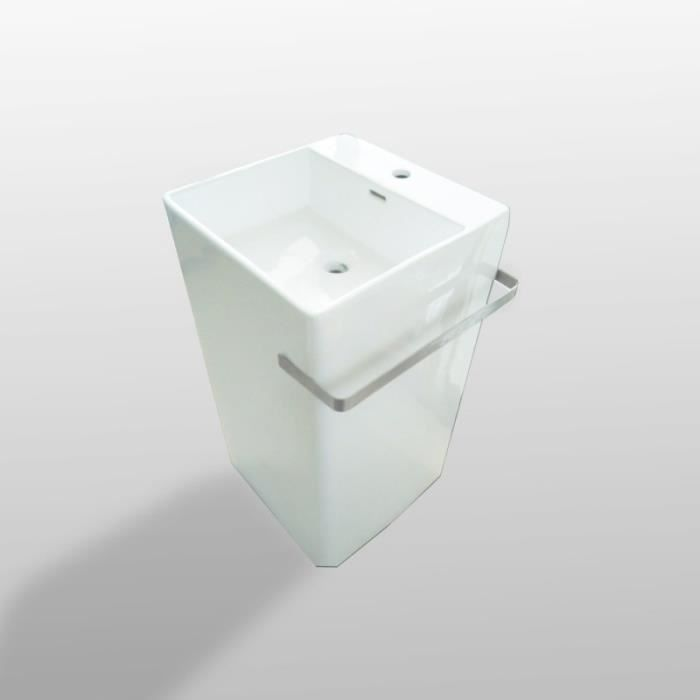Lavabo totem carré avec porte serviette , 46x85 cm, céramique blanche, Alto + 50,000000 Blanc Brillant