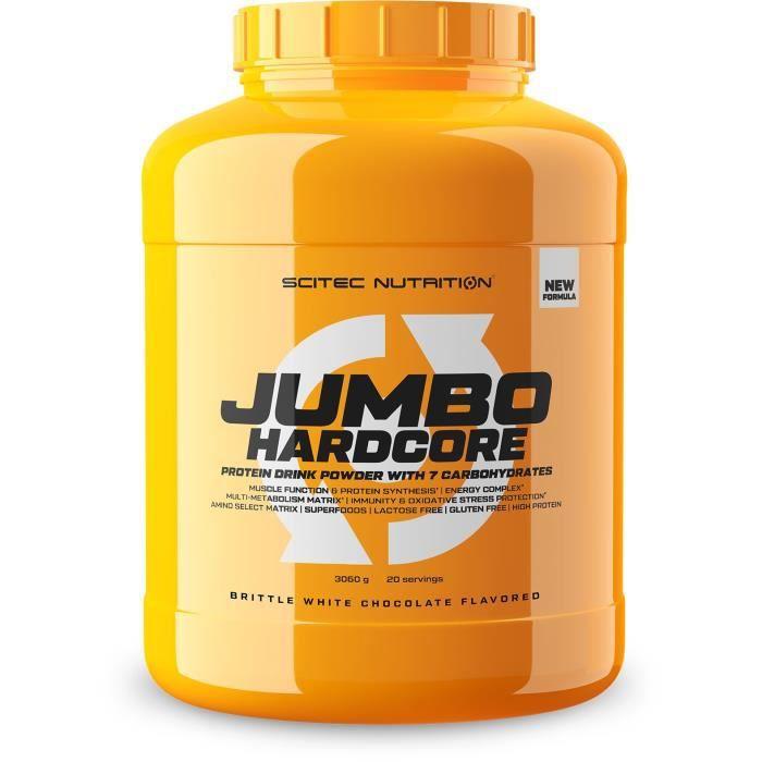 Jumbo Hardcore 3060g Chocolat Blanc Croustillant Scitec Proteine Gainer Musculation