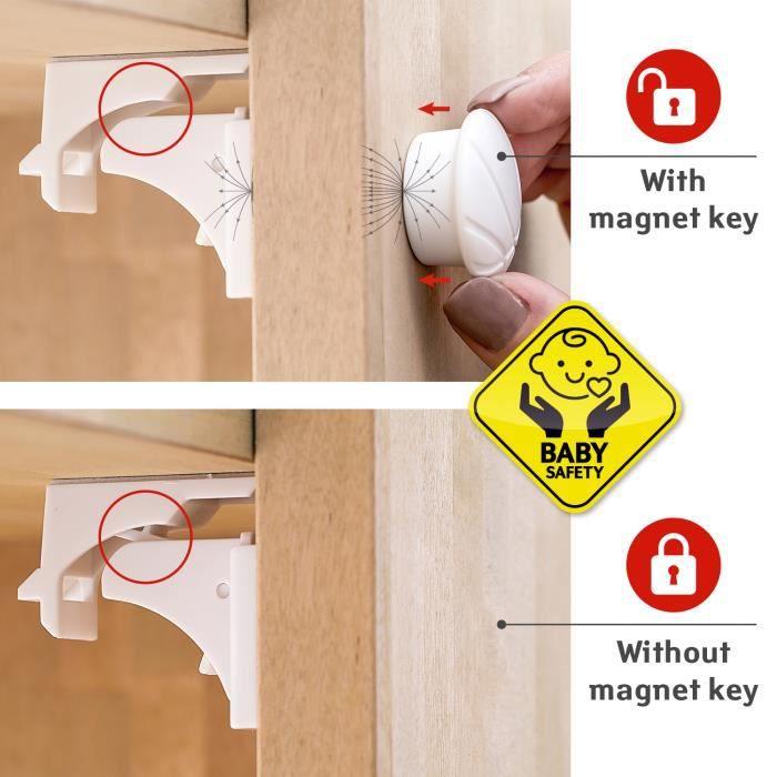 Tatkraft Secret Kit de 4 Serrures de Tiroir et Placard Magnétiques Auto Adhésives Plastique ABS
