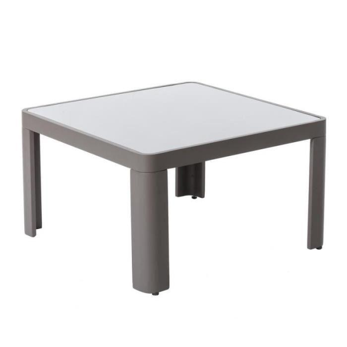 Table basse d'extérieur Aluminium/Verre Gris - FLORES - L 70 x l 70 x H 40