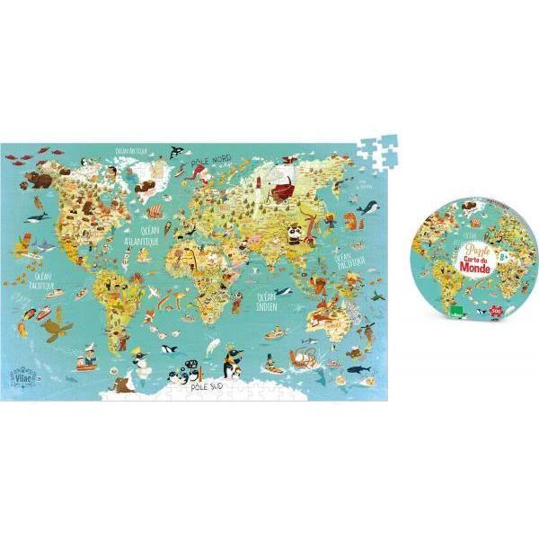 Vilac - 2722 - Puzzle Carte du monde fantastique (500 pcs)