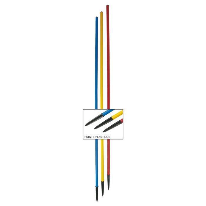 Lot de 4 Piquets de slalom pointe plastique - Bleu - Longueur : 1,60 m Diamètre : Ø 25 mm