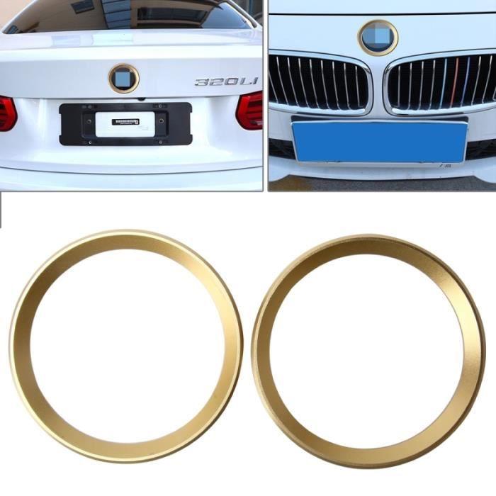 Décoration voiture pour BMW Série 5 Or 2 PCS Car Logo décoratif Cercle Volant Anneau Autocollant Logo Styling Modification Avant
