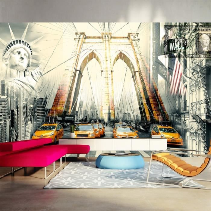 Papier peint intiss new york 500x280 cm 10 l s for Deco murale new york