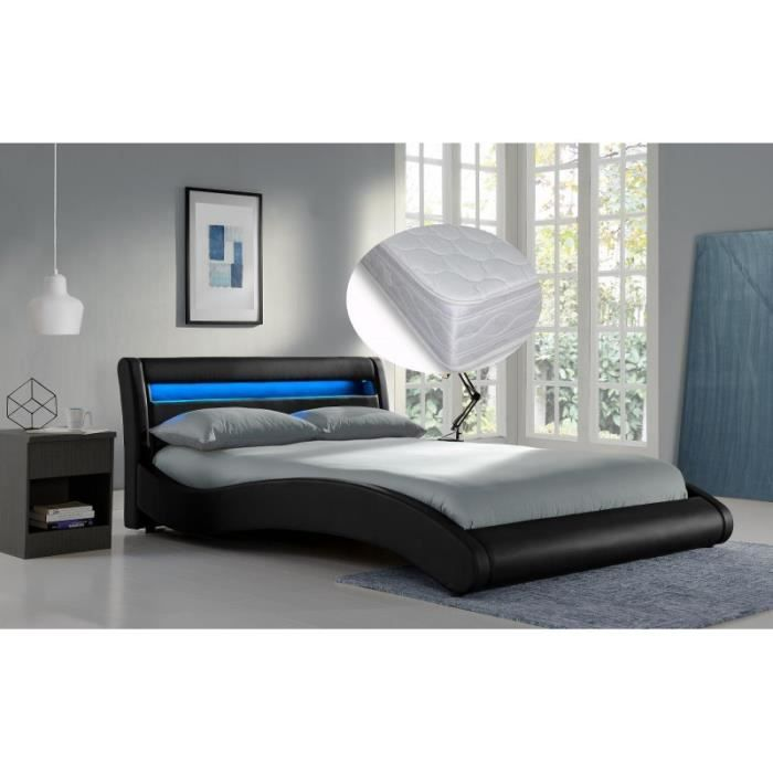 lit black surf noir 160x200 sommier et matelas achat vente lit complet lit black surf noir. Black Bedroom Furniture Sets. Home Design Ideas