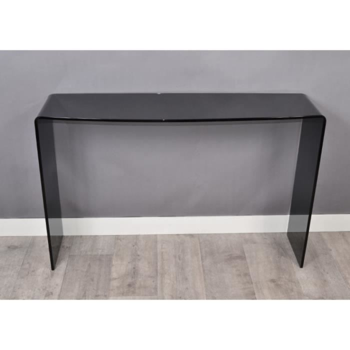 console design en verre noir 110x33 cm achat vente console console design en verre noi. Black Bedroom Furniture Sets. Home Design Ideas
