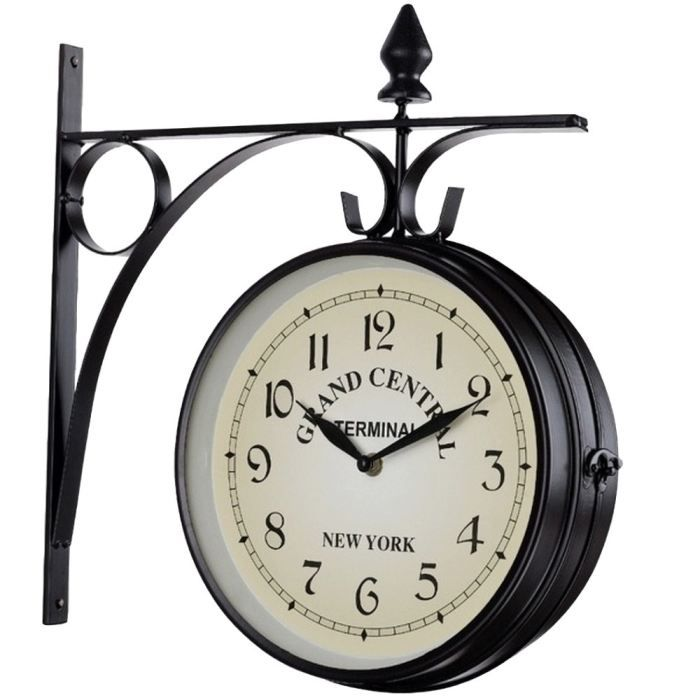 horloge de gare murale double face a suspendre achat vente horloge aluminium fer forg. Black Bedroom Furniture Sets. Home Design Ideas
