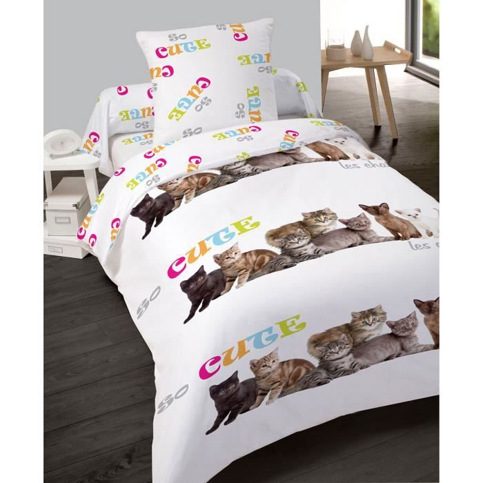 housse de couette 140x200cm et une taie so cute chat. Black Bedroom Furniture Sets. Home Design Ideas