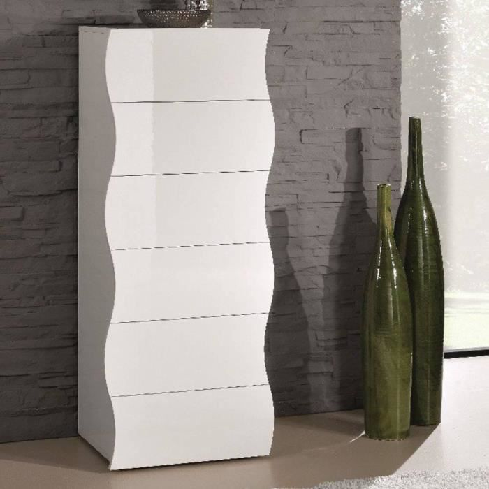 chiffonnier onda 6 tiroirs blanc brillant achat vente chiffonnier semainier chiffonnier. Black Bedroom Furniture Sets. Home Design Ideas