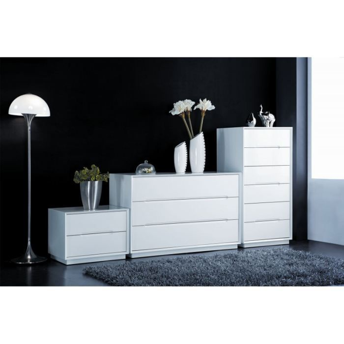 celeste commode 6 tiroirs blanc laqu achat vente commode semainier cdiscount. Black Bedroom Furniture Sets. Home Design Ideas