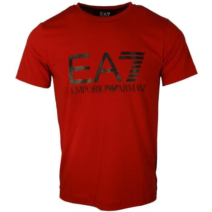 T SHIRT EA7 ARMANI HOMME - ROUGE - ROUGE - Achat / Vente t-shirt - Bientôt  le Black Friday Cdiscount