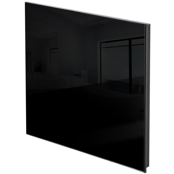 chauffage lectrique mural rayonnant infrarouge en verre 620 mm x 620 mm 450w tectake noir. Black Bedroom Furniture Sets. Home Design Ideas