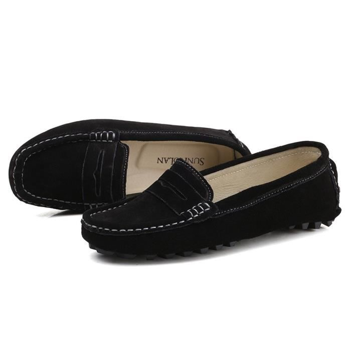 Suede Casual cuir Driving Mocassins Slip-on Penny Mocassins Chaussures bateau Flats H0M11 Taille-41 1-2