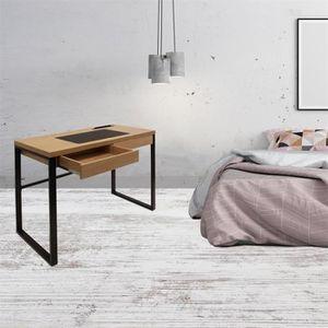 BUREAU  Bureau - 100 x 50,3 x 74 cm - Bois et métal noir N