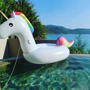 licorne 275x140x120cm gonflable bou e piscine geant blanc