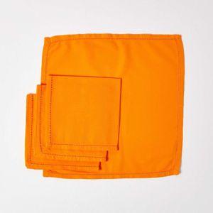 SERVIETTE DE TABLE Lot de 4 serviettes de table 100% coton  Orange