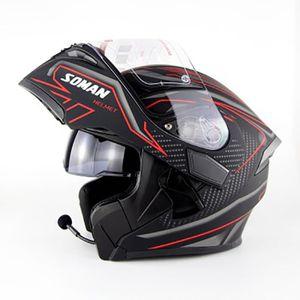 CASQUE MOTO SCOOTER Casque modulable soman955 de moto double lentilles
