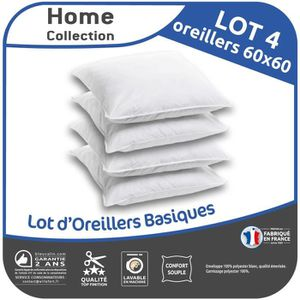 Anti-Acariens 60x60 cm OKE Home Collection Lot de 4 Oreillers Cliniguard Blancs