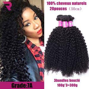 PERRUQUE - POSTICHE 3 tissage bresilien boucle 100g/p 7A cheveux natur