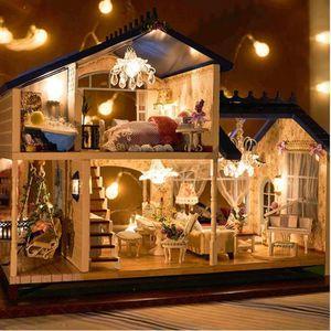 MAISON POUPÉE DIY LED Maison de Poupée Dollhouse Musique Miniatu
