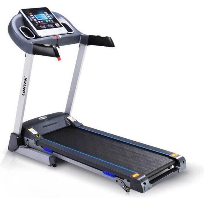 LONTEK tapis de course, Capteur d'impulsion inclus, Inclinaison , écran LCD, 1-14KM / H. Avec 12 programmes d'exercices