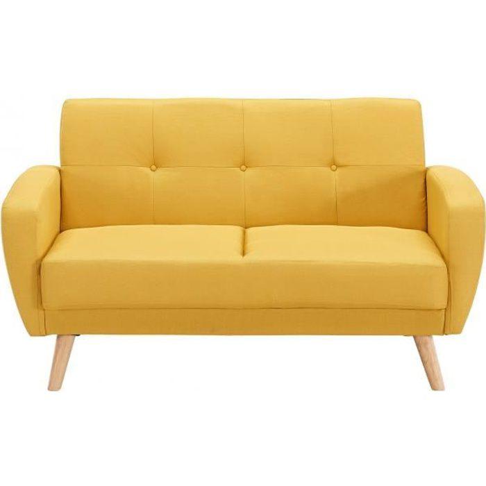Canapé jaune en tissu capitonné 2 places OSLO