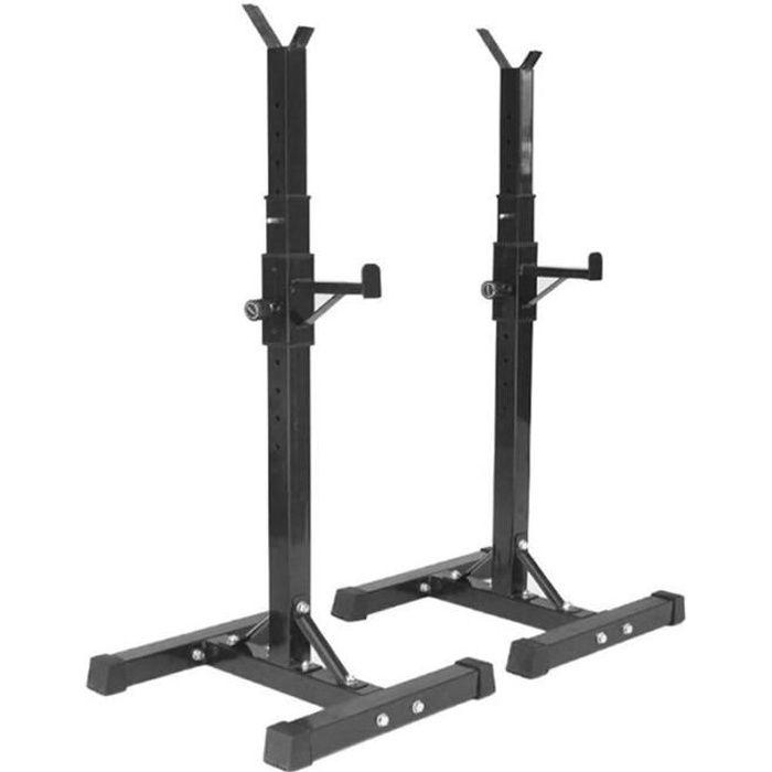 HEK Repose Haltère Réglable 15 Niveaux Repose Barre Musculation Supports pour Haltères Longs à Disques Charge Max.200 kg Noir
