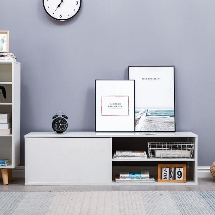 Meuble TV Blanc Brillant - Contemporain Scandinave - 130*42*35 cm