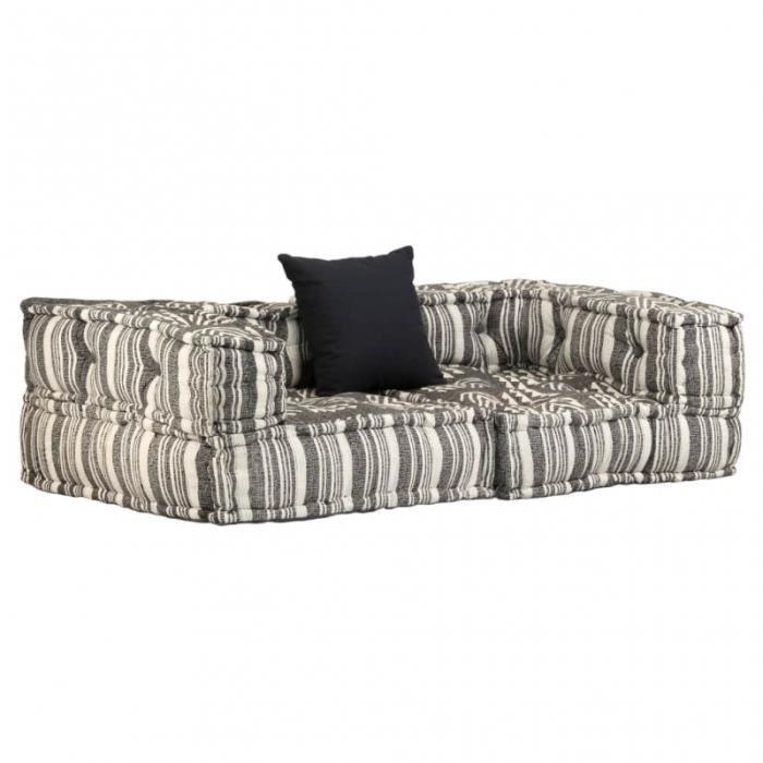 Canapé 2 places modulable + coussin en tissu rayé gris/crème L.140CM CS2449881