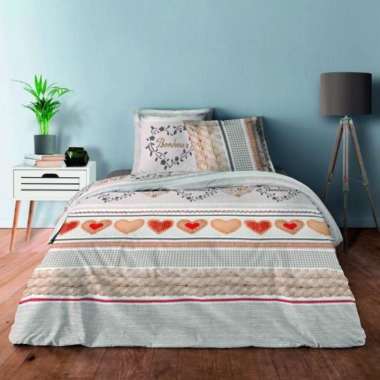 Pack complet Bonheur naturel housse de couette pour lit 140 x 190 cm 100% coton / 57 fils/cm²
