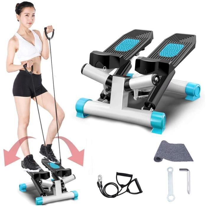 Fitness Stepper, Mini Stepper de Fitness, 2 en 1 avec Guidon Élastiques et écran Multifonctions, Exercices Jambes Bras