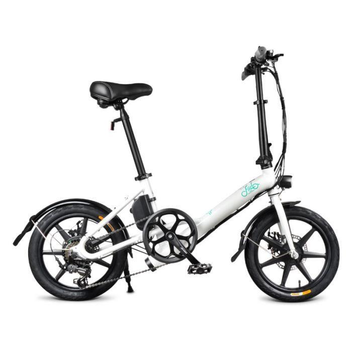 FIIDO D3s Vélo électrique Pliable 250W, Batterie 7.8Ah, 16 Pouces Ebike Pliable à 6 vitesse, Blanc