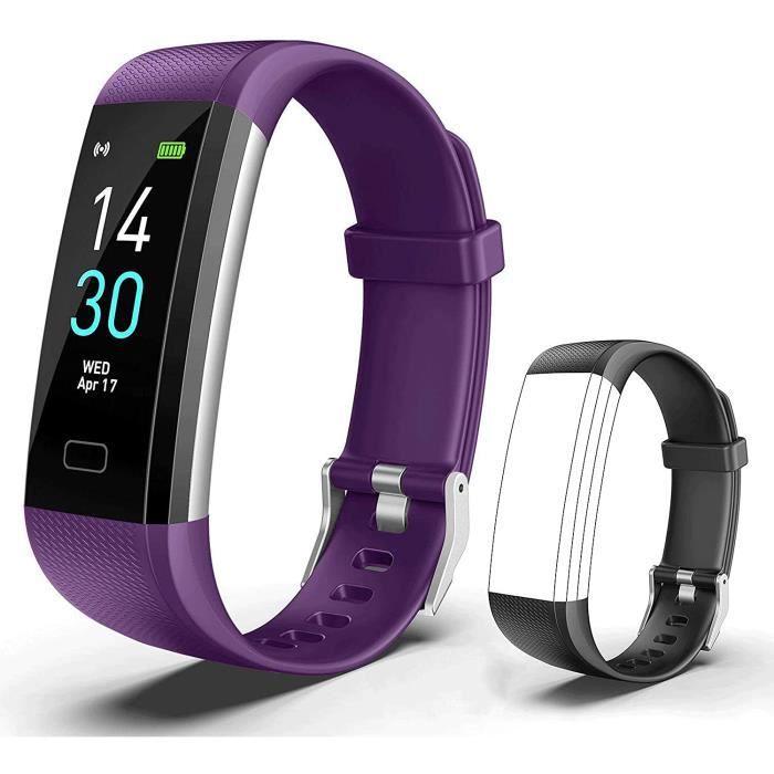 Showyoo Montre Connectée Cardiofréquencemètre Tracker d'Activité Écran Coloré avec Moniteur de Sommeil, Réveil, Notifications, B40