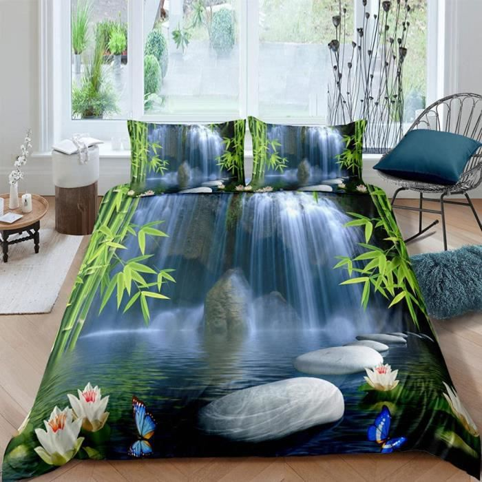 Cascade Zen Set de Housse de Couette Parure de lit Multicolore Housse de Couette Doux Imprimée en 3D140x200cm[297]