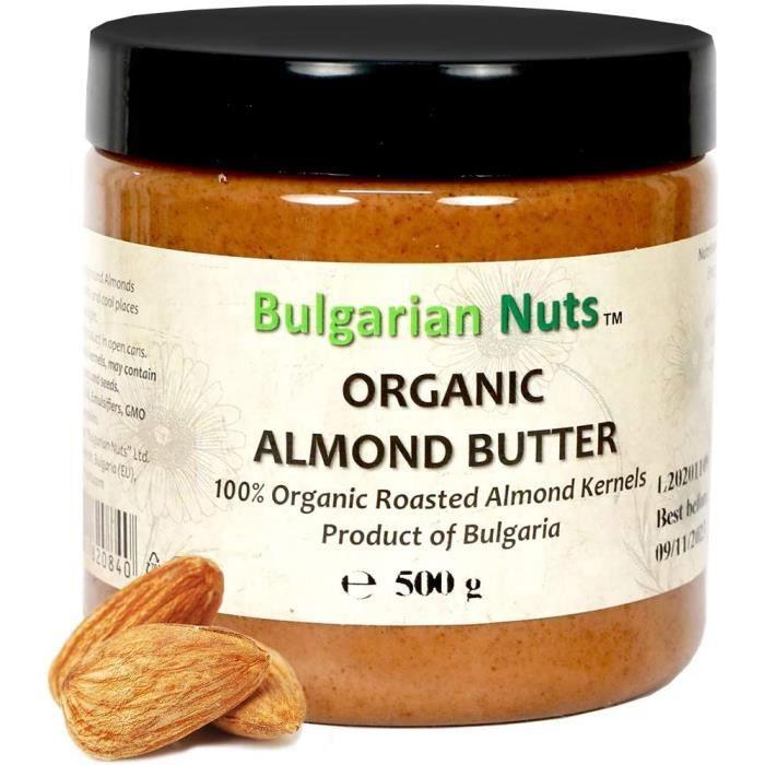 500 g Beurre d'Amande Bio, Sans - Gluten, émulsifiants, huile de palme, sucre, conservateurs, produit d'amandes Bulgares
