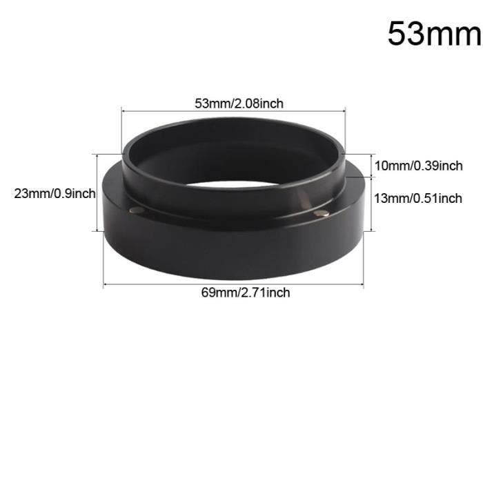 Café Filtres,Aluminium 51mm-53mm-54mm-58mm anneau de dosage Intelligent bol de brassage café poudre expresso - Type Black Ring 53MM