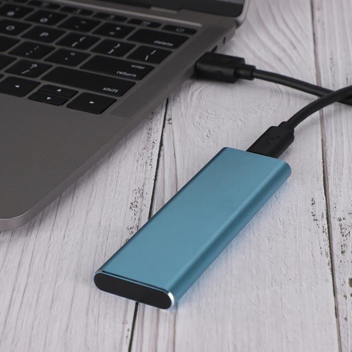 Garosa Disque dur mobile Gen1 NGFF Type-C Mobile SSD Hard Disk Disque dur portable à semi-conducteurs bleu (128 Go)