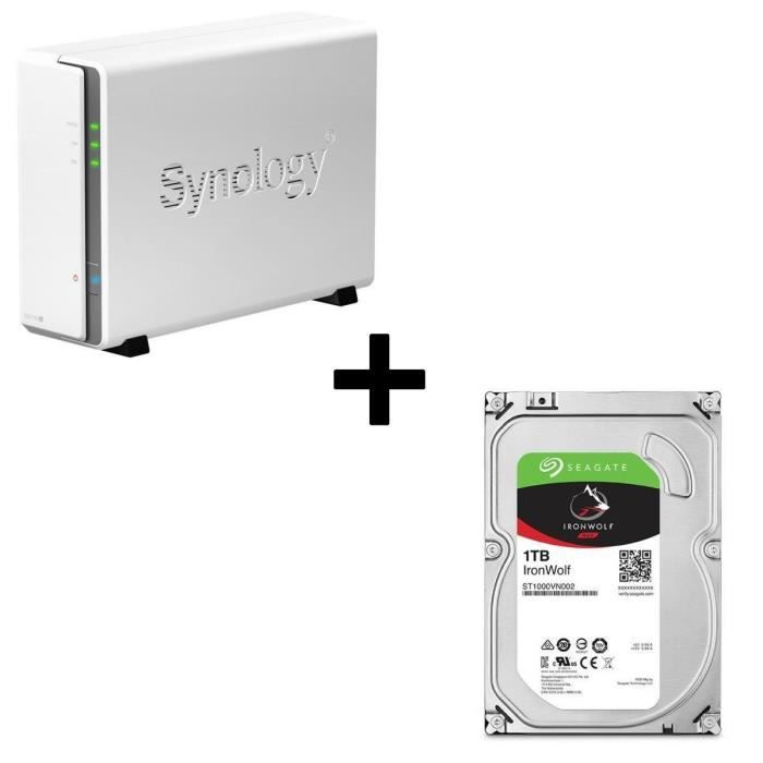 Pack Synology Serveur NAS DiskStation DS115j + 1 Disque Dur Seagate NAS HDD Iron Wolf 1To 3,5\