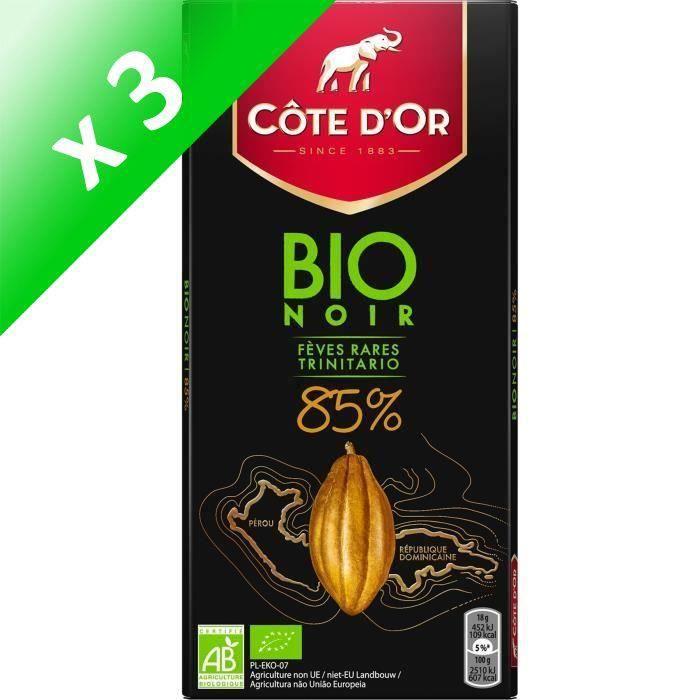 [LOT DE 3] Côte d'Or Bio tablette de chocolat Noir 85% 90g