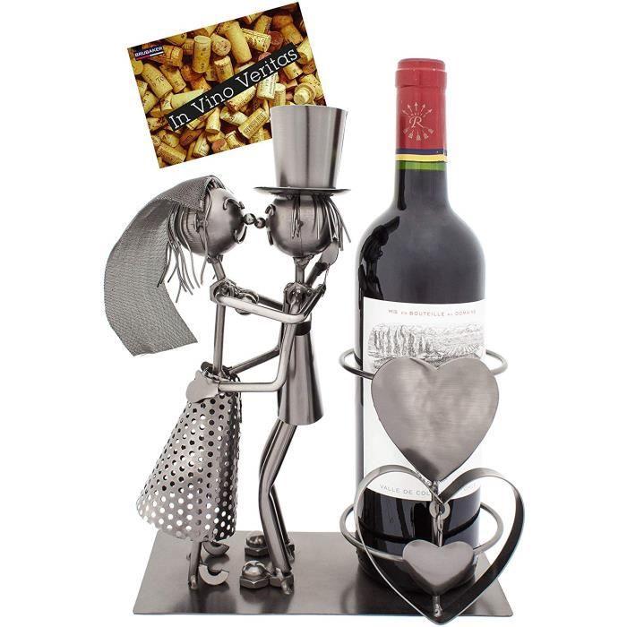 Brubaker - Porte-Bouteille de vin - Couple marié-Mariage - Métal - Carte de vœux Incluse - Idée Cadeau Originale - Objet décoratif