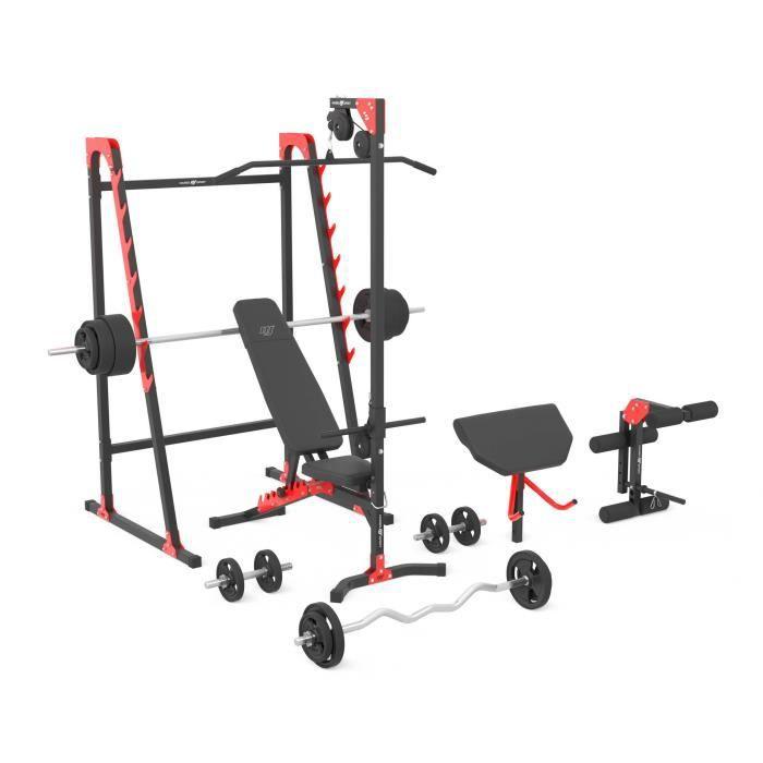 Marbo Sport Kit MH26 174KG Kier - Banc de musculation réglable, support, entraînement des jambes, traction, banc Scott, barres ...
