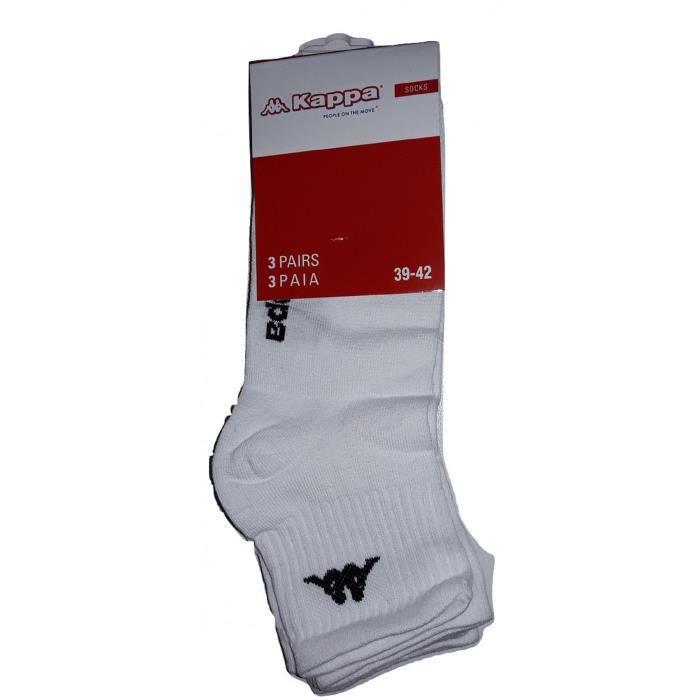 Kappa Lot 3 paires de chaussettes ,chaussettes sport,chaussettes noir ou blancNoir