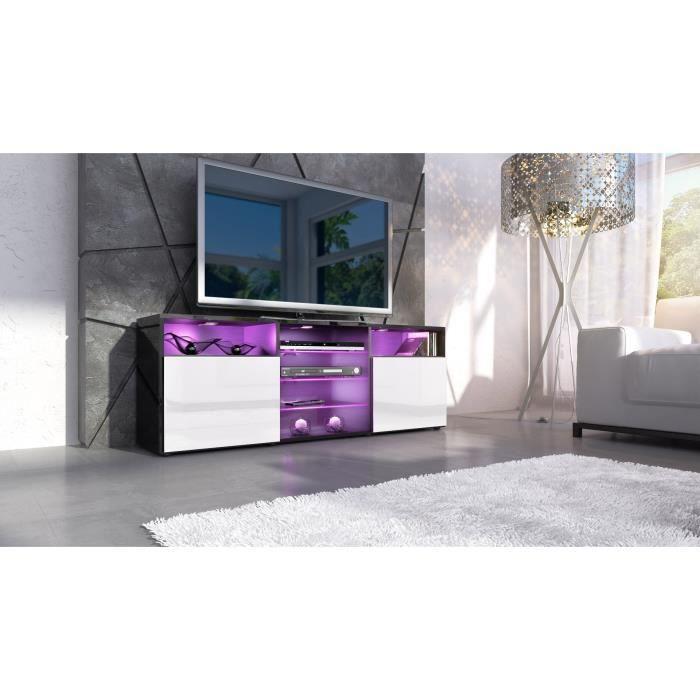 meuble design noir et blanc façade laquée sans led