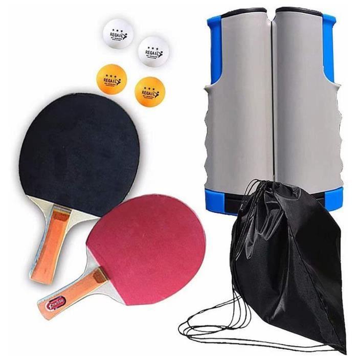 Kit de filet de tennis de table avec pince à clip,2PCS Raquette de tennis,1PCS sac à bandoulière