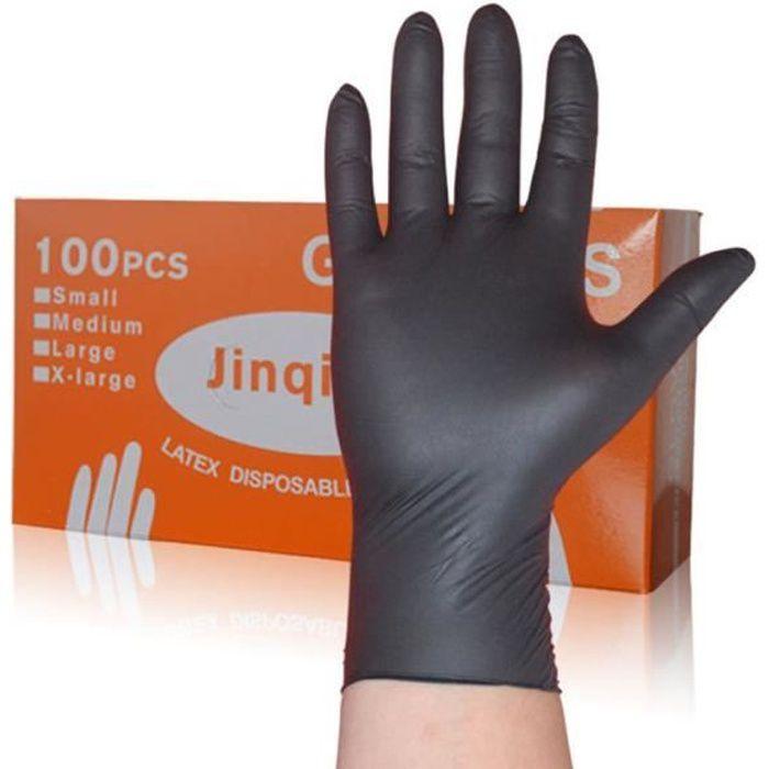 100pcs Gants jetables en nitrile, gants jetables, gants d'examen ,XL, non poudré, hypoallergénique, gants jetables, noir