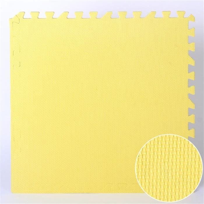 9pcs tapis de sol puzzle tapis mousse bebe jeu enfant puzzle mat 30x30cm jaune