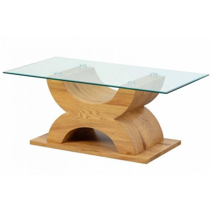 Table basse en bois chêne sauvage et verre - L.110 x H.45 x P.60 cm